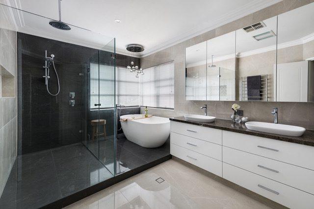 walkin-shower-soak-tub-double-vanity-mirror-cabinet