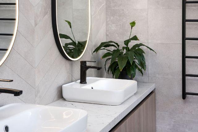 double-vanity-black-tapware-above-counter-basins